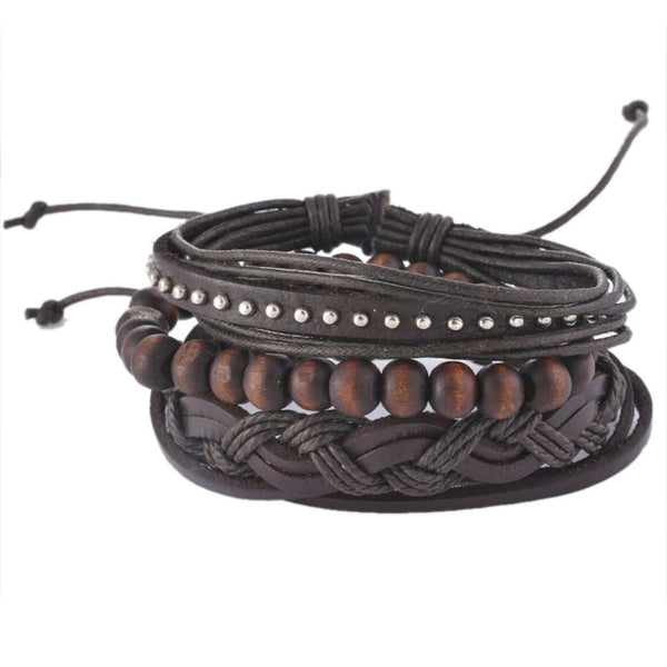 Funique Multilayer Bracelet Men Casual Fashion Braided Leather Bracelets For Women Wood Bead Bracelet Punk Rock Men Jewelry Up08122 Chain &