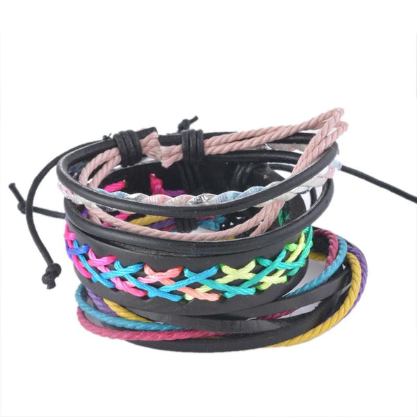 Funique Multilayer Bracelet Men Casual Fashion Braided Leather Bracelets For Women Wood Bead Bracelet Punk Rock Men Jewelry Up08128 Chain &