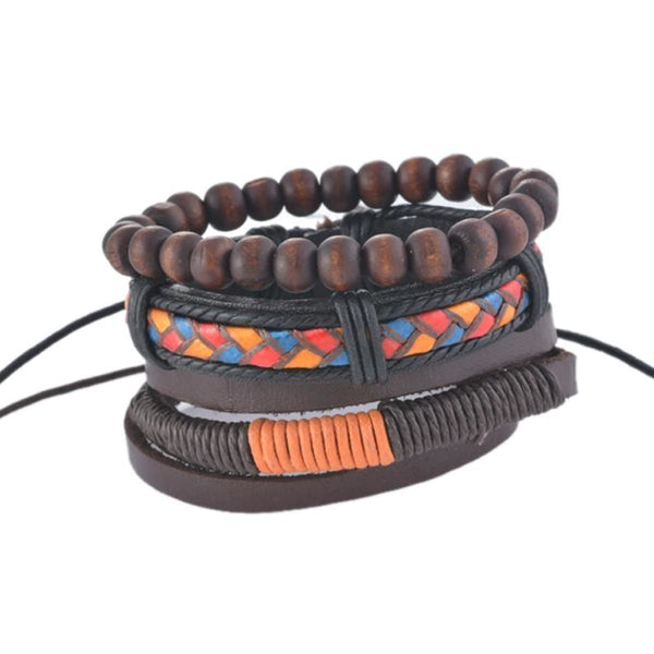 Funique Multilayer Bracelet Men Casual Fashion Braided Leather Bracelets For Women Wood Bead Bracelet Punk Rock Men Jewelry Up08120 Chain &