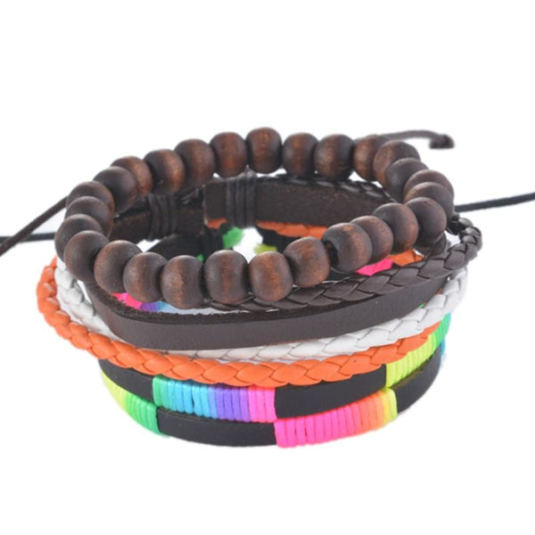 Funique Multilayer Bracelet Men Casual Fashion Braided Leather Bracelets For Women Wood Bead Bracelet Punk Rock Men Jewelry Up08124 Chain &