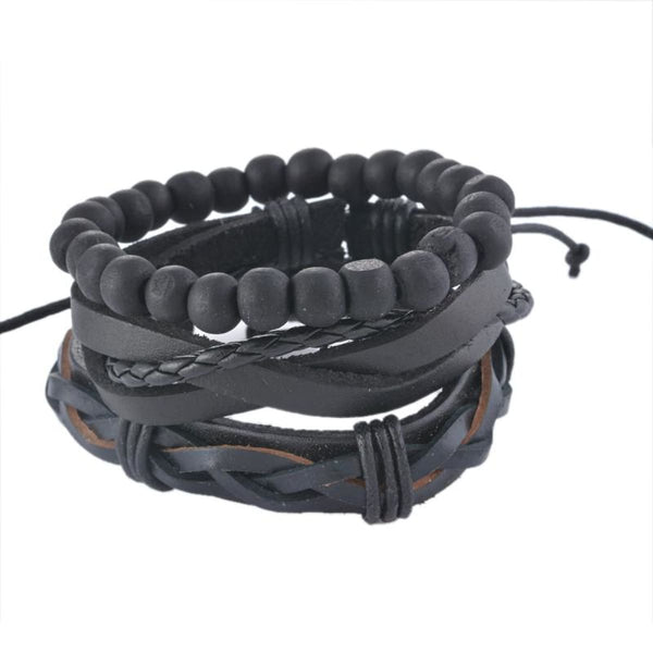 Funique Multilayer Bracelet Men Casual Fashion Braided Leather Bracelets For Women Wood Bead Bracelet Punk Rock Men Jewelry Up08126 Chain &