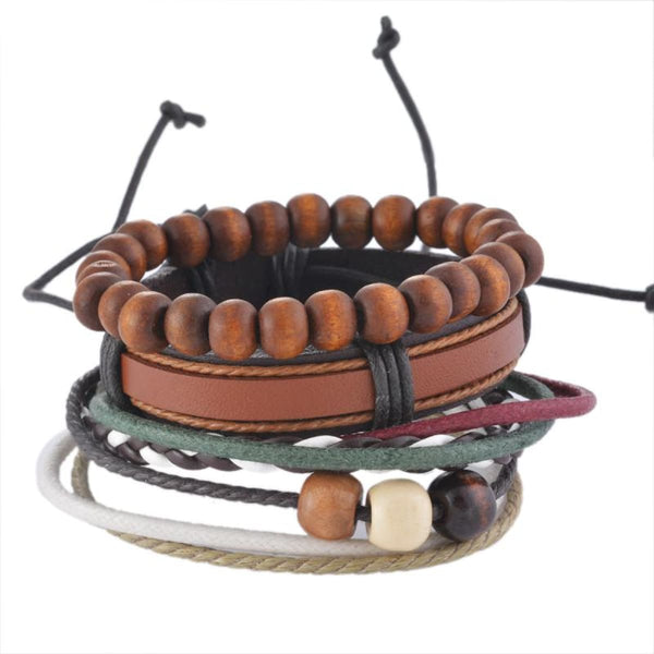 Funique Multilayer Bracelet Men Casual Fashion Braided Leather Bracelets For Women Wood Bead Bracelet Punk Rock Men Jewelry Up08121 Chain &