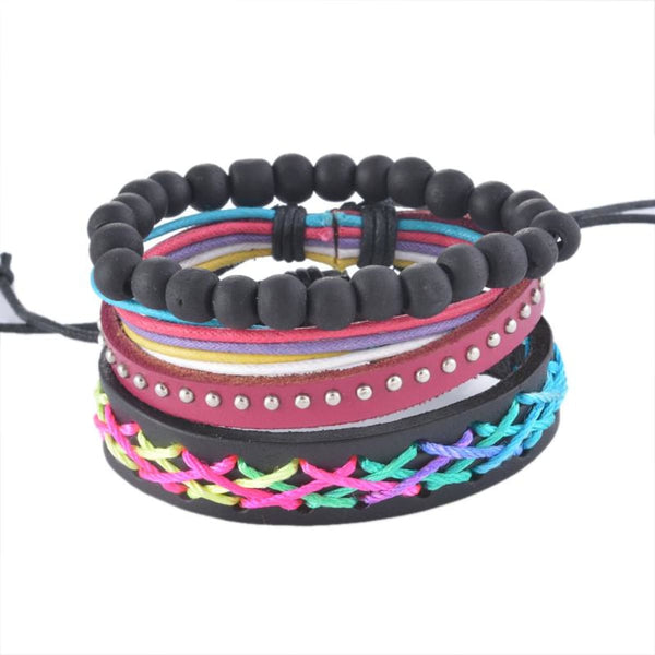 Funique Multilayer Bracelet Men Casual Fashion Braided Leather Bracelets For Women Wood Bead Bracelet Punk Rock Men Jewelry Up08129 Chain &