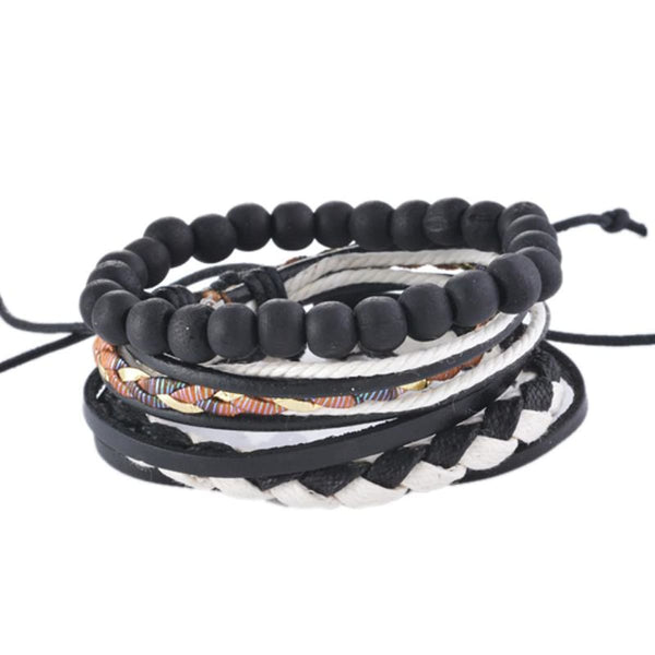 Funique Multilayer Bracelet Men Casual Fashion Braided Leather Bracelets For Women Wood Bead Bracelet Punk Rock Men Jewelry Up08125 Chain &