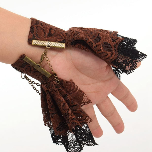 Girls Steampunk Gear Butterfly Lace Wrist Cuff Braceletst Steampunk Cuff