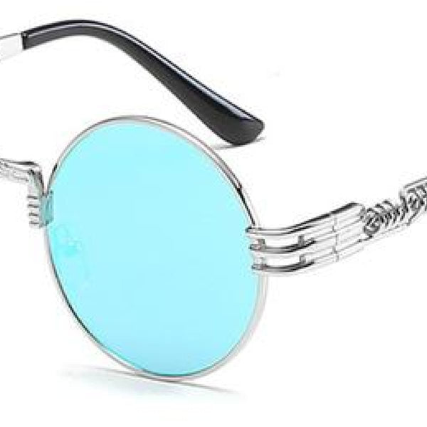 H2 Retro Round Metal Frame Steampunk Sunglasses Silver Blue