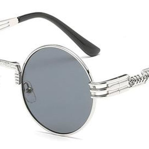 H2 Retro Round Metal Frame Steampunk Sunglasses Silver Black