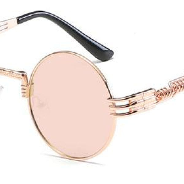 H2 Retro Round Metal Frame Steampunk Sunglasses Rose Gold Pink
