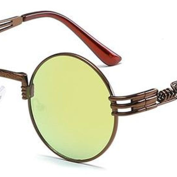 H2 Retro Round Metal Frame Steampunk Sunglasses Coffee Golden