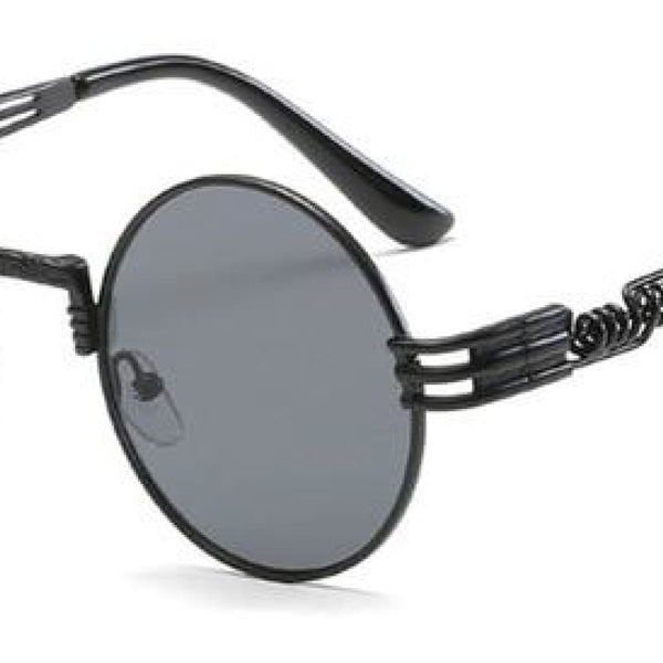 H2 Retro Round Metal Frame Steampunk Sunglasses Black Black