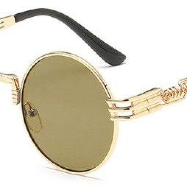 H2 Retro Round Metal Frame Steampunk Sunglasses Golden Luxury Gold