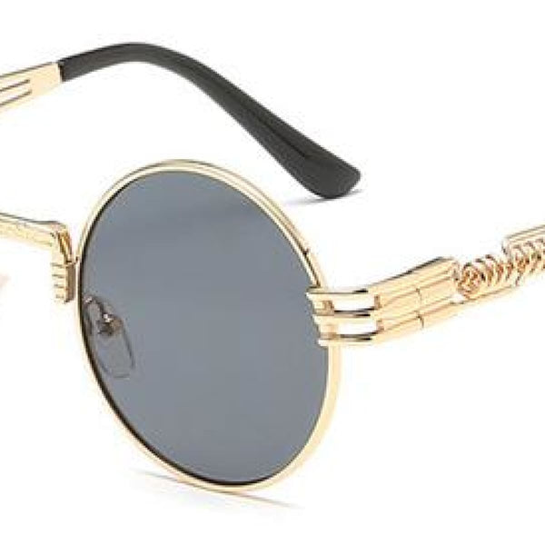 H2 Retro Round Metal Frame Steampunk Sunglasses Golden Black