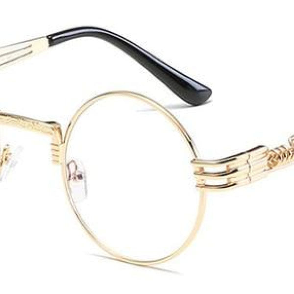 H2 Retro Round Metal Frame Steampunk Sunglasses Golden Clear