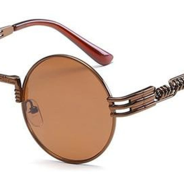 H2 Retro Round Metal Frame Steampunk Sunglasses Coffee Tea