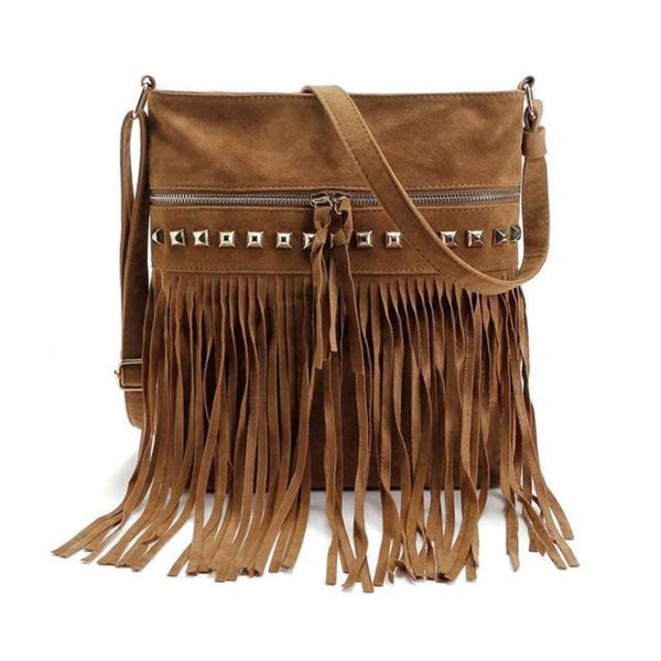 Jr Vintage Fringe Rivet Satchel Crossbody Bag With Tassels Brown Bohemian Handbag