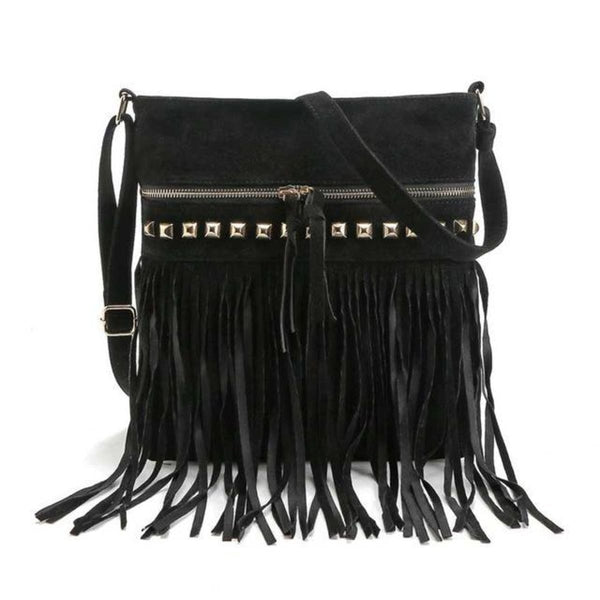 Jr Vintage Fringe Rivet Satchel Crossbody Bag With Tassels Black Bohemian Handbag