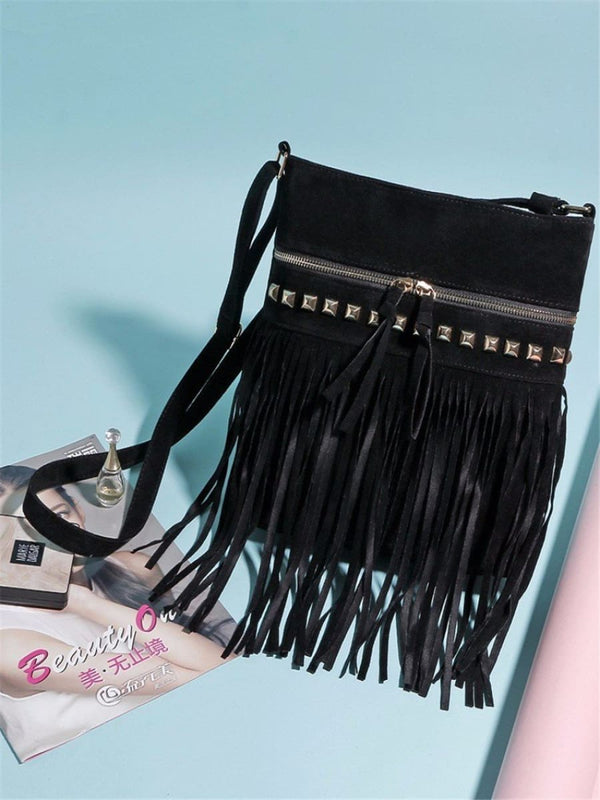 Jr Vintage Fringe Rivet Satchel Crossbody Bag With Tassels Bohemian Handbag