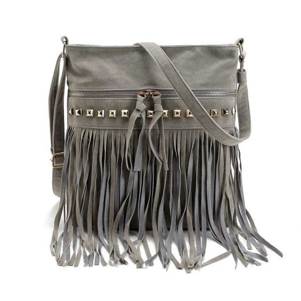 Jr Vintage Fringe Rivet Satchel Crossbody Bag With Tassels Gray Bohemian Handbag