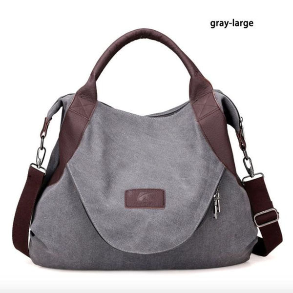 Kaki Canvas Leather Large Pocket Casual Tote Gray-Large