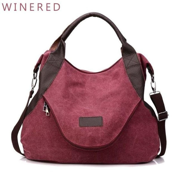 Kaki Canvas Leather Large Pocket Casual Tote Wine Red-Large