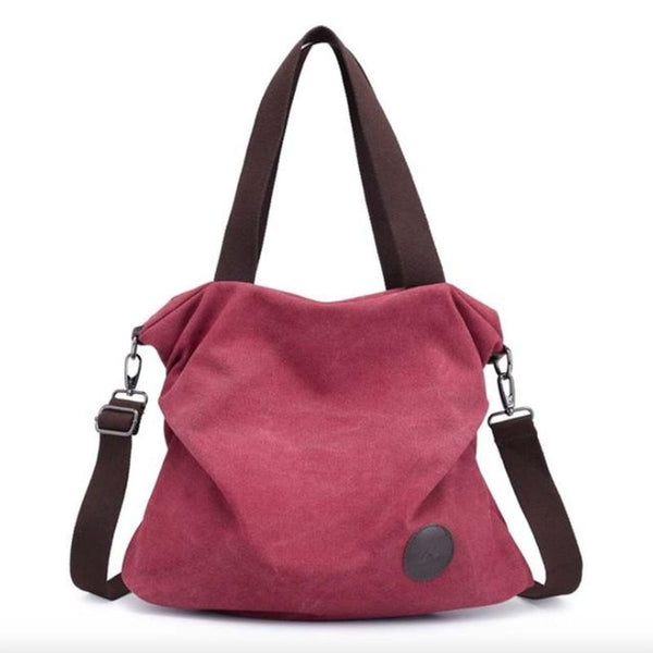 Kaki Canvas Leather Large Pocket Casual Tote Wine Red-Small