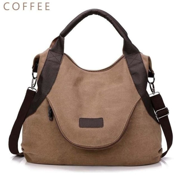 Kaki Canvas Leather Large Pocket Casual Tote Coffee-Large