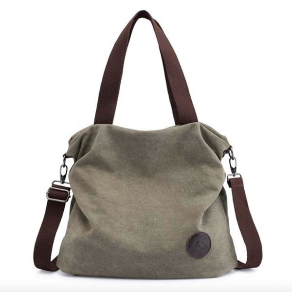 Kaki Canvas Leather Large Pocket Casual Tote Army Green-Small
