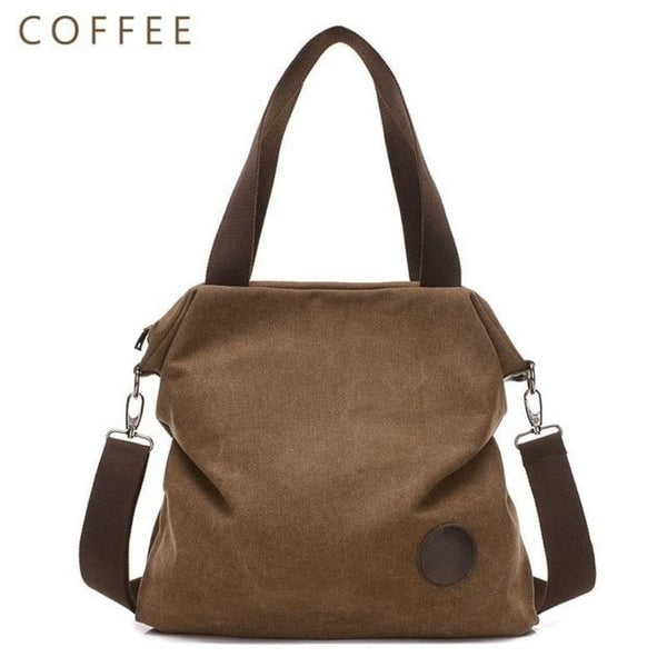 Kaki Canvas Leather Large Pocket Casual Tote Coffee-Small