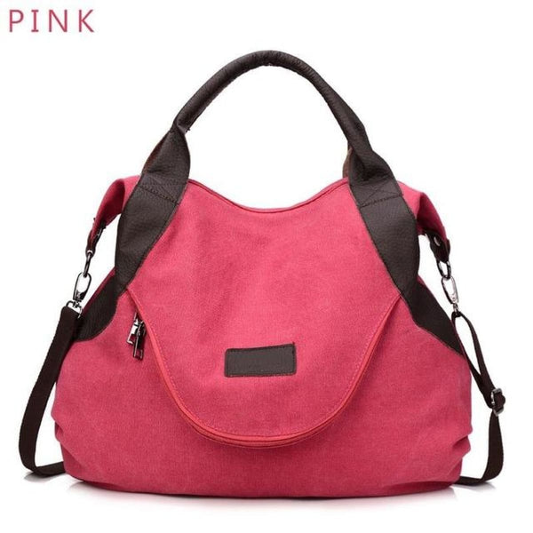 Kaki Canvas Leather Large Pocket Casual Tote Pink-Large