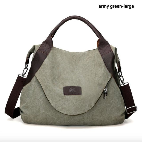 Kaki Canvas Leather Large Pocket Casual Tote Army Green-Large