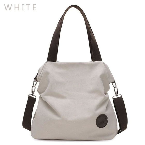 Kaki Canvas Leather Large Pocket Casual Tote White-Small