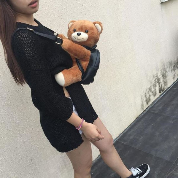 Leather Plush Teddy Bear Backpack Small Size Backpack