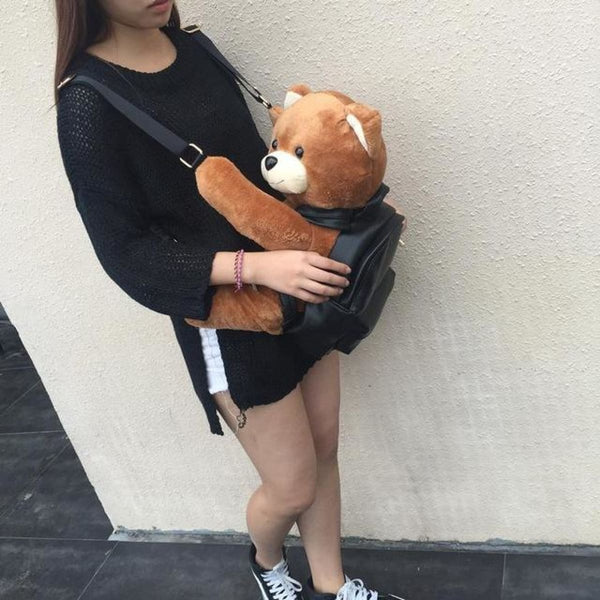 Leather Plush Teddy Bear Backpack Big Size Backpack