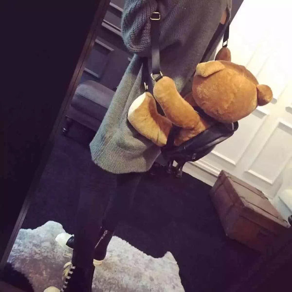 Leather Plush Teddy Bear Backpack Backpack