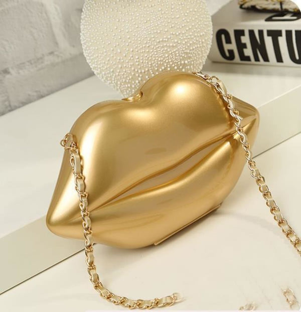 Lips Clutch Handbag Purse Gold 2 Handbag