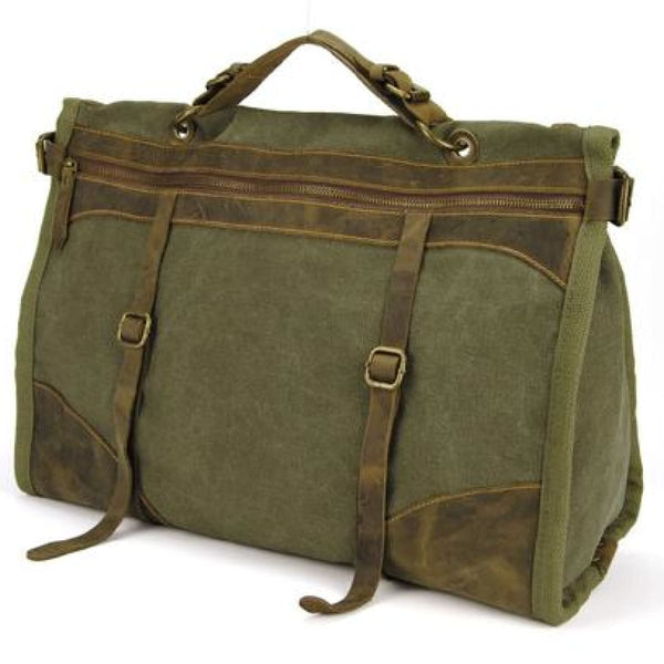 M1 Military Canvas + Leather Weekender Duffle Bag Army Green Leather Weekender Bag