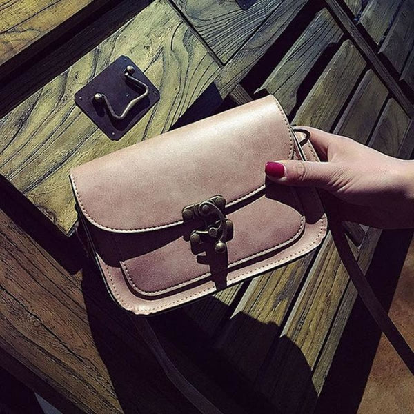 Md Vintage Lock Leather Crossbody Bag F Pink / 15 X 19 X 6 Cm Leather Crossbody Bag