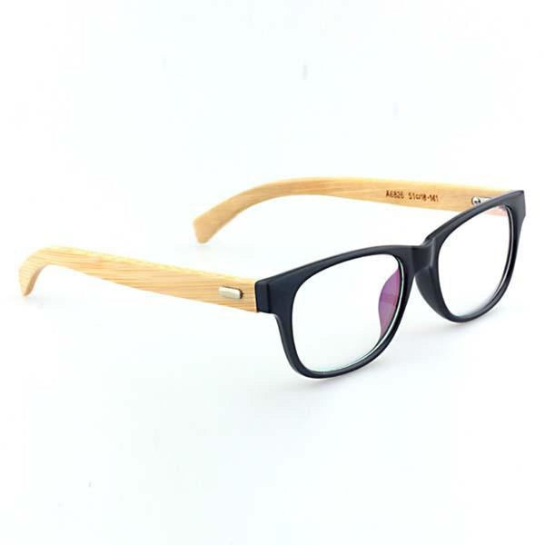 Men Women Clear Lens Eyewear Bamboo Wood Frame Sunglasses Beige Sunglasses