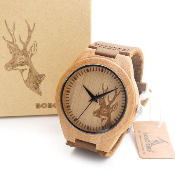 Mens Bamboo Wooden Bamboo Watch Quartz Real Leather Strap With Gift Box Bb002 Quartz Watches