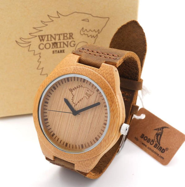 Mens Bamboo Wooden Bamboo Watch Quartz Real Leather Strap With Gift Box Quartz Watches