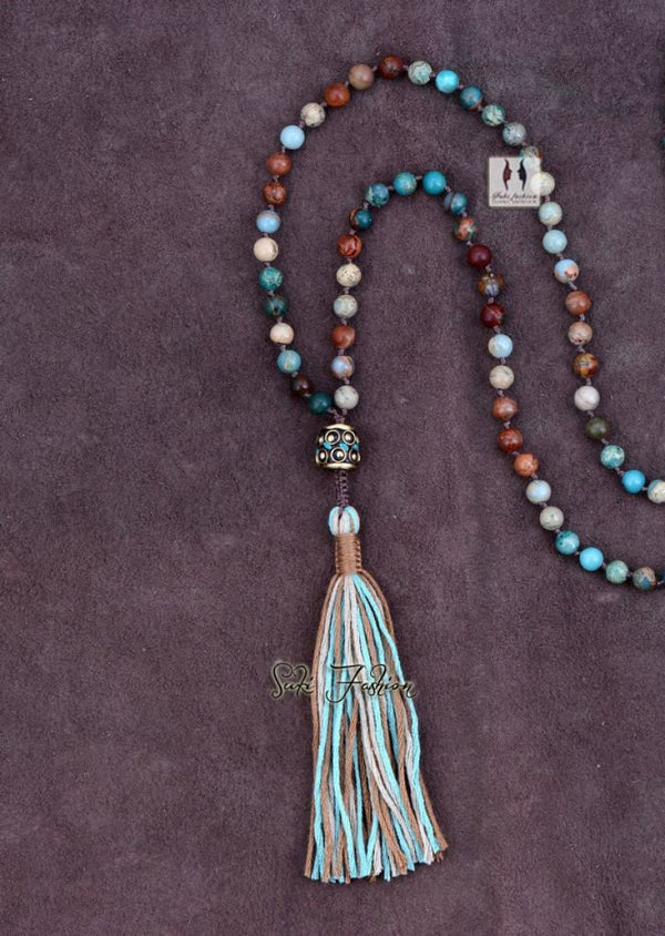 Mixed Natural Jasper Beads Necklace With Long Tassel Luxury Handmade Beaded Bohemia Necklace Exclusive High End 6Mm