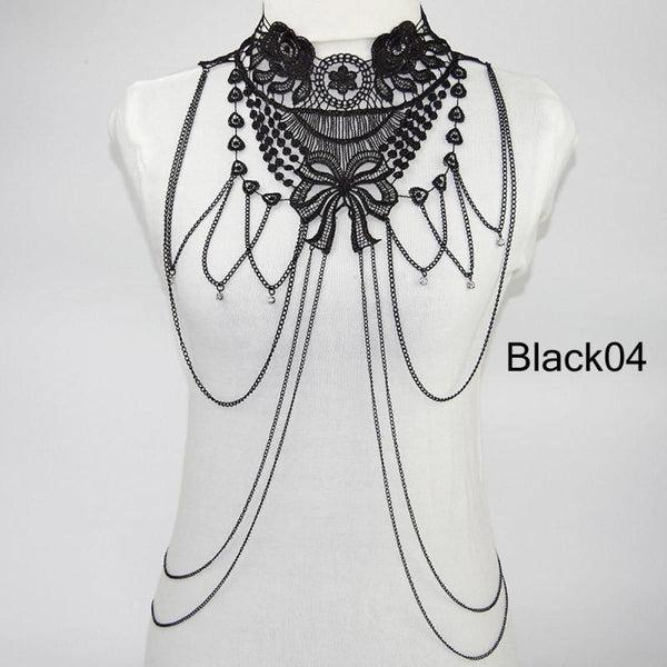 Multi Layer Black Lace Body Chain Tassel Necklace & Pendants Jewelry Chain Necklaces