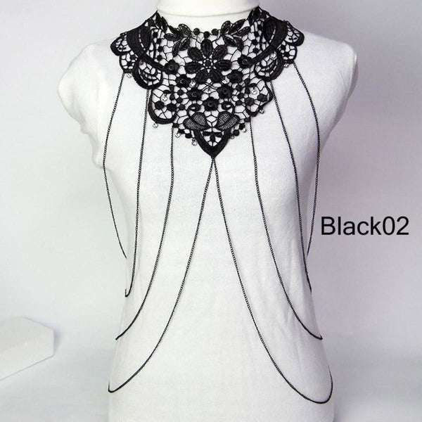 Multi Layer Black Lace Body Chain Tassel Necklace & Pendants Jewelry Black02 Chain Necklaces