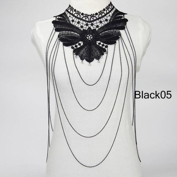 Multi Layer Black Lace Body Chain Tassel Necklace & Pendants Jewelry Black05 Chain Necklaces