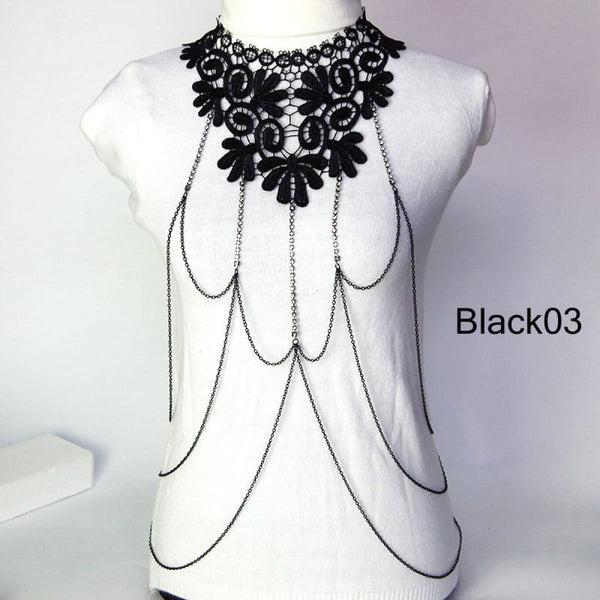 Multi Layer Black Lace Body Chain Tassel Necklace & Pendants Jewelry Black03 Chain Necklaces