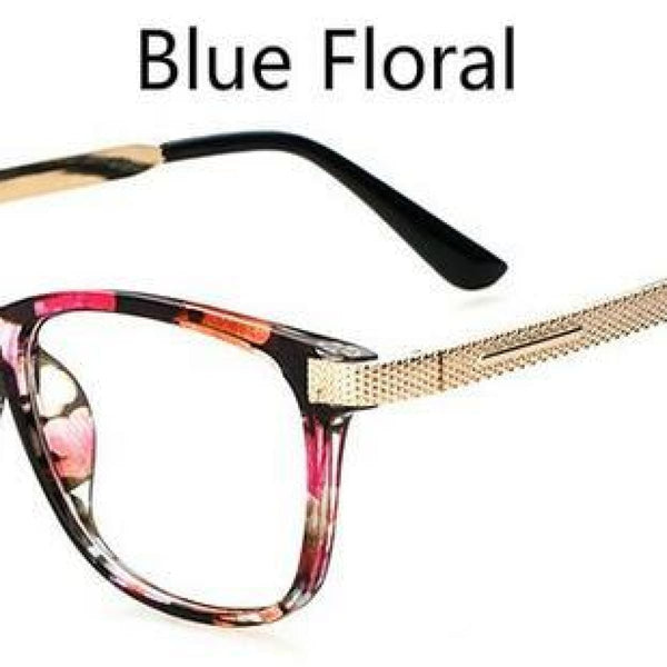 Myopia Retro Vintage Anti-Radiation Eyeglasses Optical Glasses Frame Plain Eye Glasses - Oculos De Grau Femininos Blue Floral