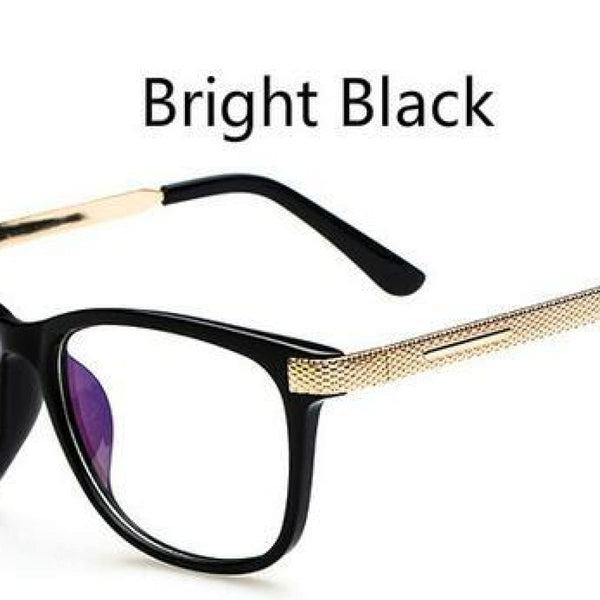 Myopia Retro Vintage Anti-Radiation Eyeglasses Optical Glasses Frame Plain Eye Glasses - Oculos De Grau Femininos Bright Black