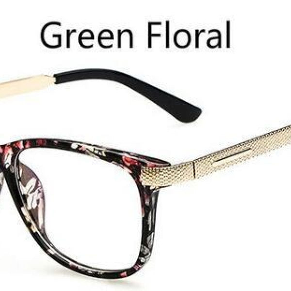 Myopia Retro Vintage Anti-Radiation Eyeglasses Optical Glasses Frame Plain Eye Glasses - Oculos De Grau Femininos Green Floral