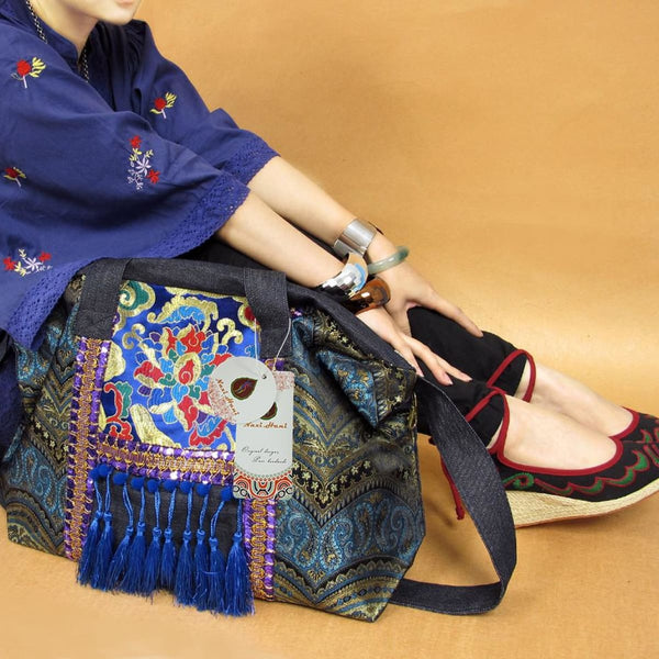 N Hani Handmade Embroidered Blue Denim Shoulder Bag Tote Embroidered Handbag