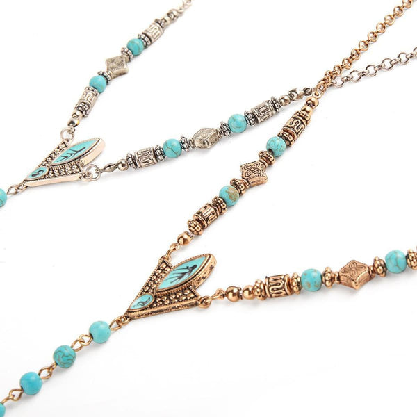 Native American Turquoise Beaded Tusk Necklace Pendant Necklaces